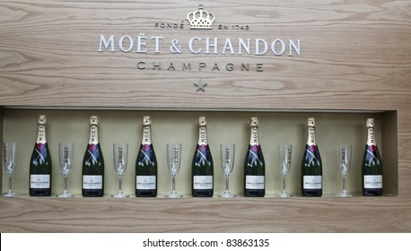 NEW YORK - SEPTEMBER 01: The food court area is shown with Moet & Chandon Champagne at US Open at USTA Billie Jean King National Tennis Center on September 01, 2011 in New York City.