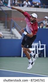 NEW YORK - SEPTEMBER 02: James Blake of USA returns ball during 2nd round match against David Ferrer of Spain at USTA Billie Jean King National Tennis Center on September 02, 2011 in New York City, NY