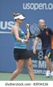 NEW YORK - SEPTEMBER 02: Vera Zonareva of Russia reacts during 3rd round match against Anabel Medina Garrigues of Spain at USTA Billie Jean King National Tennis Center on September 02, 2011 in New York City