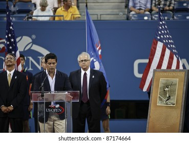 NEW YORK - SEPTEMBER 03: Actor Esai Morales speaks at the induction ceremony of Pancho Gonzalez into the 2011 US Open Court of Champions on September 03, 2011 in New York City