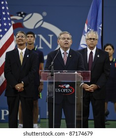 NEW YORK - SEPTEMBER 03: US Senator Robert Menendez speaks at the induction ceremony of Pancho Gonzalez into the 2011 US Open Court of Champions on September 03, 2011 in New York City