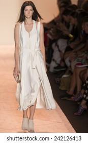 NEW YORK - SEPTEMBER 04 2014: Stephanie Joy Field is walking the runway at BCBGMAXAZRIA Spring 2015 Ready-to-Wear Show during Mercedes-Benz Fashion Week at Lincoln Center