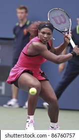 NEW YORK - SEPTEMBER 05: Serena Williams of USA returns ball during 4th round match against Ana Ivanovic of Serbia at USTA Billie Jean King National Tennis Center on September 05, 2011 in New York City, NY