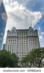 NEW YORK - SEPTEMBER 06: Low Angle View of Historic Plaza Hotel, a Luxury Hotel and Condominium Apartment Building in Midtown Manhattan, New York City, New York, USA. September 06 2015.