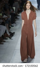 NEW YORK - SEPTEMBER 07 2013: Magdalena Jasek is walking the runaway at Lacoste Collection Spring Summer 2014 fashion show during Mercedes-Benz Fashion Week