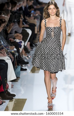 794efa85f7a7f NEW YORK - SEPTEMBER 08: Holly Rose Emery is walking the runway at Diane  Von Furstenberg Collection for Spring/Summer 2014 fashion show at  Mercedes-Benz ...