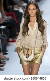 NEW YORK - SEPTEMBER 08: Joan Smalls is walking the runway at Diane Von Furstenberg Collection for Spring/Summer 2014 fashion show during Mercedes-Benz Fashion Week on SEPTEMBER 08, 2013 in New York