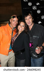 NEW YORK - SEPTEMBER 09 : Stylist Robert Verdi (L) Andrea Bernholtz (C) and Photographer Anton Oparin (R) backstage at Rock & Republic Spring 2007 at Cipriani - September 09, 2006 in NYC, NY.