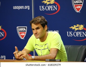 NEW YORK - SEPTEMBER 1, 2015: Seventeen times Grand Slam champion Roger Federer during press conference after first round match at US Open 2015 in New York