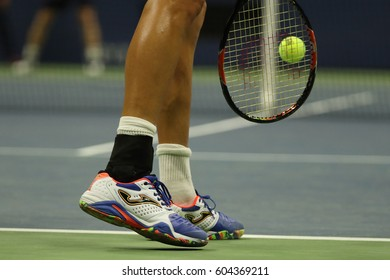 NEW YORK - SEPTEMBER 1, 2016: Professional tennis player Marcel Granollers of Spain wears custom Joma tennis shoes during US Open 2016 round 2 match at National Tennis Center
