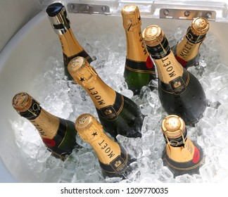 NEW YORK - SEPTEMBER 1, 2018: Moet and Chandon champagne presented at the National Tennis Center during US Open 2018 in New York. Moet and Chandon is the official champagne of the US Open
