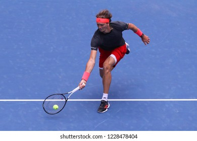 NEW YORK - SEPTEMBER 1, 2018: Professional tennis player Alexander Zverev of Germany in action during his 2018 US Open round of 32 match at Billie Jean King National Tennis Center