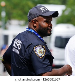 NEW YORK - SEPTEMBER 1, 2018: NYPD counter terrorism police officer provides security at National Tennis Center during 2018 US Open in New York