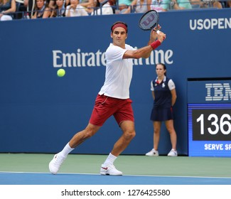 NEW YORK - SEPTEMBER 1, 2018: 20-time Grand Slam champion Roger Federer of Switzerland in action during the 2018 US Open round of 32 match at Billie Jean King National Tennis Center in New York