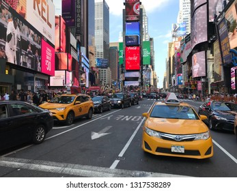 New York, New York - September 1 2018: The Times Square in Manhattan