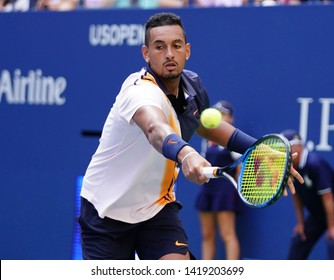 NEW YORK - SEPTEMBER 1, 2018: Professional tennis player Nick Kyrgios of Australia in action during his 2018 US Open round of 32 match at Billie Jean King National Tennis Center