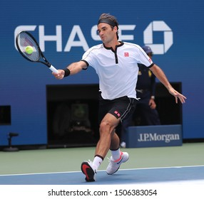NEW YORK - SEPTEMBER 1, 2019: 20-time Grand Slam champion Roger Federer of Switzerland in action during the 2019 US Open round of 16 match at National Tennis Center in New York