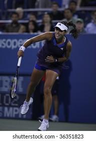 NEW YORK - SEPTEMBER 1: Ana Ivanovic of Serbia serves during 1st round match against Kateryna Bondarenko of Ukraine at US Open on September 1, 2009 in New York