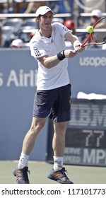 NEW YORK - SEPTEMBER 1: Andy Murray of United Kingdom returns ball during 3rd round match against Feliciano Lopez of Spain at US Open tennis tournament on September 1 2012 in Flashing Meadows New York