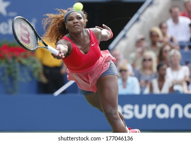 NEW YORK- SEPTEMBER 1: Grand Slam champion Serena Williams during fourth round match at US Open 2013 against Sloane Stephens at Billie Jean King National Tennis Center on September 1, 2013 in New York