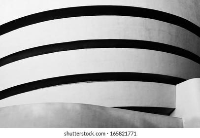 NEW YORK - SEPTEMBER 1: High contrast black and white photograph of Solomon R. Guggenheim Museum on the Upper East Side of Manhattan, on September 1, 2013.