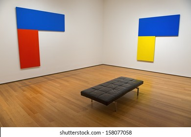 NEW YORK - SEPTEMBER 1: Interior of the Museum Of Modern Art (MOMA) showing two paintings by Ellsworth Kelly. September 1, 2013. New York City (USA).