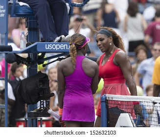 NEW YORK - SEPTEMBER 1: Sloane Stephens of USA congratulates Serena Williams of USA  after 4th round match at USTA Billie Jean King Tennis Center on September 1, 2013 in New York CIty