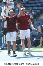 NEW YORK - SEPTEMBER 10, 2016: US Open 2016 men doubles champions Bruno Soares (L) and Jamie Murray celebrate victory after US Open 2016 final match at the Billie Jean King National Tennis Center