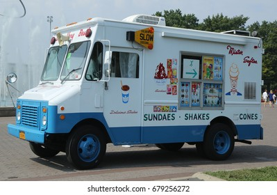 NEW YORK - SEPTEMBER 10, 2016: Ice cream truck in Flushing Meadows Corona Park. Mister Softee is a United States-based ice cream truck franchisor popular in the Northeast founded in 1956