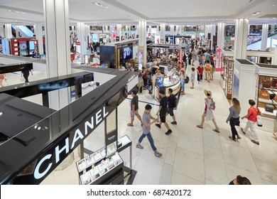 NEW YORK - SEPTEMBER 10: Macy's department store interior, cosmetics area with Chanel shop on September 10, 2016 in New York. Macy is the largest U.S. department store company.