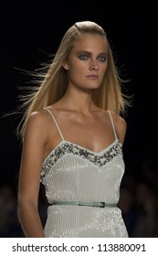 NEW YORK - SEPTEMBER 10: Model Constance Jablonski walks the runway at the Carolina Herrera S/S 2013 collection presentation during Mercedes-Benz Fashion Week on September 10, 2011 in New York.