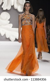 NEW YORK - SEPTEMBER 10: Model Ruby walks the runway at the Carolina Herrera S/S 2013 collection presentation during Mercedes-Benz Fashion Week on September 10, 2011 in New York.