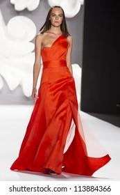 NEW YORK - SEPTEMBER 10: Model Kinga Rajzak  walks the runway at the Carolina Herrera S/S 2013 collection presentation during Mercedes-Benz Fashion Week on September 10, 2011 in New York.