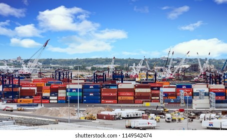 NEW YORK, - September 11, 2014: Hamburg Sud ranks in the top 10 shipping container companies in the world, and is now part of Maersk, the world's largest shipping company.