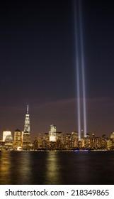 NEW YORK - SEPTEMBER 11, 2014: Tribute in Light at lower Manhattan remembering 9/11