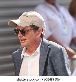 NEW YORK - SEPTEMBER 11, 2016: American actor, author, producer, and activist   Michael J. Fox at the red carpet before US Open 2016 men's final match at USTA Billie Jean King National Tennis Center