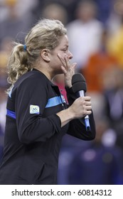 NEW YORK - SEPTEMBER 11: Kim Clijsters of Belgium celebrates her victory over Vera Zvonareva of Russia on final championship match at US Open tennis tournament on September 11, 2010 in New York