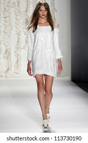 NEW YORK - SEPTEMBER 12: Model walks the runway at the RACHEL ZOE Spring/Summer 2013 collection Mercedes-Benz Fashion Week in New York on September 12, 2012