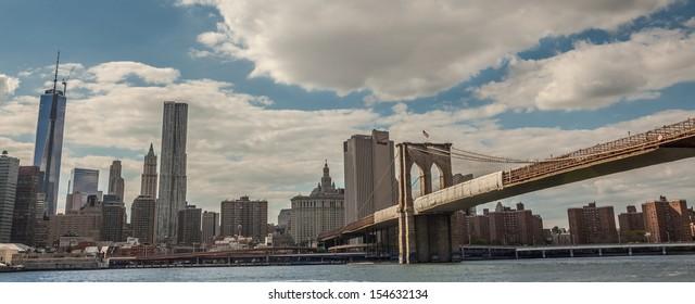 NEW YORK - SEPTEMBER 13: Brooklyn Bridge on September 13, 2013. The Brooklyn Bridge was designated a National Historic Landmark in 1964 and a National Historic Civil Engineering Landmark in 1972.