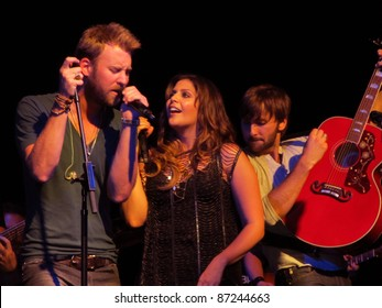 """NEW YORK - SEPTEMBER 13: Charles Kelley, Hillary Scott and Dave Haywood of Lady Antebellum perform at their """"Own the Night"""" record release concert at Irving Plaza on September 13, 2011 in New York, NY"""
