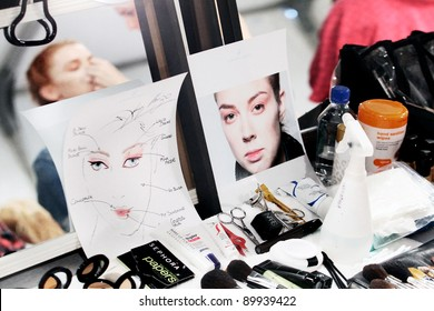 NEW YORK - SEPTEMBER 13: A model is backstage at the IMPROVD Collection by Valentino Vettori for Spring/Summer 2012 during Mercedes-Benz Fashion Week on September 13, 2011 in New York.