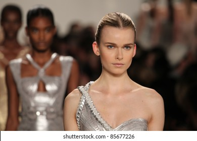 NEW YORK - SEPTEMBER 13: Models walk the runway at the Herve Leger S/S 2012 collection presentation during Mercedes-Benz Fashion Week on September 13, 2011 in New York