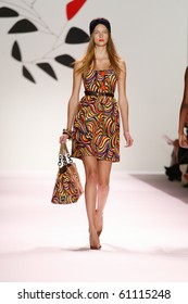 NEW YORK - SEPTEMBER 15: A model is walking the runway at the Milly by Michelle Smith collection presentation for Spring/Summer 2011 during Mercedes-Benz Fashion Week on September 15, 2010 in New York