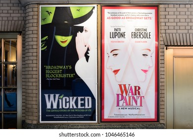 NEW YORK - SEPTEMBER 16, 2017: Poster of Wicked and War Paint Broadway Musical in New York CIty