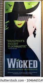 NEW YORK - SEPTEMBER 16, 2017: Poster of Wicked Broadway Musical in New York CIty