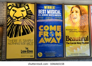 NEW YORK - SEPTEMBER 16, 2017: Poster of Lion King, Come from away and Beautiful Broadway Musical in New York CIty