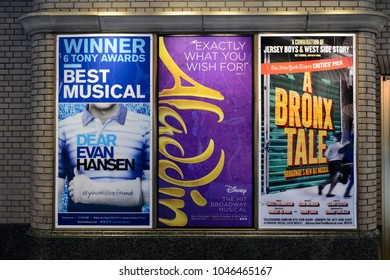 NEW YORK - SEPTEMBER 16, 2017: Poster of Aladdin, Dear Evan Hansen, A Bronx Tale Broadway Musical in New York CIty