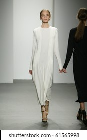 NEW YORK - SEPTEMBER 16: Model Nimue Smit is walking the runway at Calvin Klein collection presentation for Spring/Summer 2011 during Mercedes-Benz Fashion Week on September 16, 2010 in New York