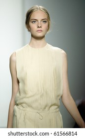NEW YORK - SEPTEMBER 16: Model Nimue Smit  is walking the runway at the Calvin Klein collection presentation for Spring/Summer 2011 during Mercedes-Benz Fashion Week on September 16, 2010 in New York