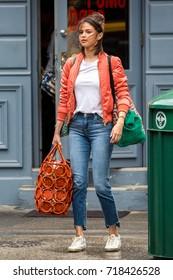 NEW YORK - SEPTEMBER 19: Selena Gomez is seen filming her new Woody Allen movie on September 19, 2017 in New York City.